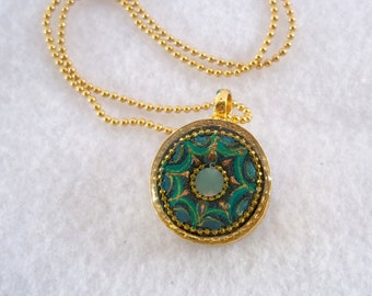 Round pendant, gold plated necklace, green necklace, blue necklace, svarovski, gift for her, unique nacklace