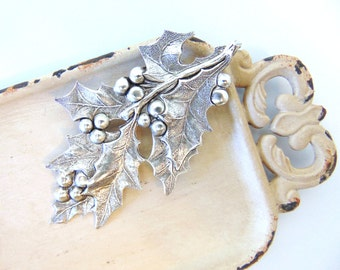 Silver Holly Leaf Barette, Silver Holly Leaf Clip, Bridal Hair Clip, Christmas Hair Clip, Holly and Berries, Winter Wedding, Holiday HOLLY