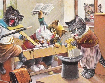 Antique Cats Postcard. Mischievous Cats in School at Breaktime. Arthur Thiele Artist Signed. 1910s Germany Collectible. Dressed Animals.