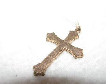 Two inch rolled gold Cross pendant. Beautiful OLD patina