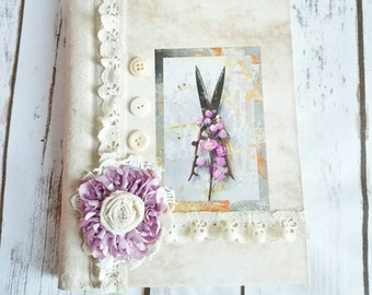Personalized Journal, French Vintage Journal, Laces Journal, Lavender Journal, French Notebook, Handmade Journal, Shabby Chic Journal,