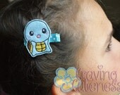 Pokemon Inspired Hair Clip, Badge Reel, Planner Accessory, or Book Mark - Meet Squirtle