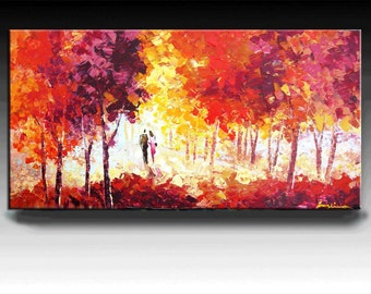 Cityscape  Painting,  HUGE Original DEEP Artist Canvas  Textured Palette Knife Painting,   Ready to Hang