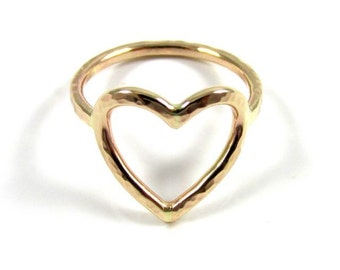 Gold Heart Ring, Hammered, Love, Sweetheart, Anniversary, Christmas Gift Idea For Her, Handmade Maui, Bridal Jewelry, Bridesmaid Gifts