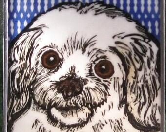 Stained Glass Dog Suncatcher Bijon Frise JRN190