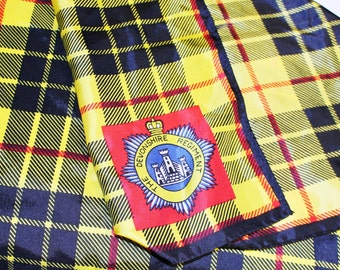 Vintage Devonshire Regiment Scarf, Vintage Plaid Head Scarf