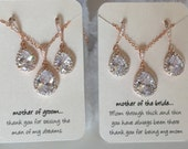 Mother of the bride or mother of the groom gift sets,  grandmother gift set, rose gold jewelry,  rhinestone necklace and earrings set