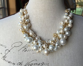 Gold chain and rhinestones crystals and white/ivory pearl necklace,bridesmaid necklace, bridal party jewelry, chunky pearl necklace