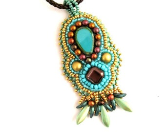Turquoise Bead embroidered necklace, Turquoise necklace Gift's for women, Handmade pendant necklace