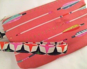 Pink Arrows Wristlet with Detachable Strap