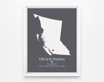 Printable Wedding Gift Personalized Anniversary or Wedding Custom Location Any State or Country - Instant Download
