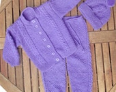 Baby infant girl toddler hand knitted mauve traditional / matinee outfit of jacket / cardigan trousers / legging pants pom pom hat pram set.