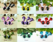 12mm Safety Cat Eyes Plastic Doll Eyes (CE) - Clear / Yellow / Golden / Pink / Purple / Red / Grass Green / Green / Blue