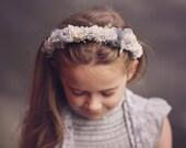 Grey Floral Headpiece. Girls Wedding Headpiece. Childs Headband. Newborn Winter Crown. Flower Girl Hairpiece. Photography Prop. UK Seller