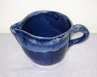 Crude Hand Thrown Cobalt Glazed Pottery Batter Pitcher, Bowl / Utensil Holder / Marked DF 8