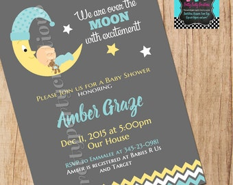 MOON baby shower invitation - YOU Print