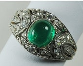 ON SALE Early Art Deco Cabochon Emerald, Diamond and Platinum Ring