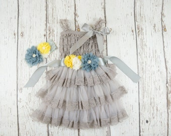 lace flower girl dress- Silver flower girl dress- flower girl dresses- gray flower girl dress- rustic flower girl dress- country flower girl