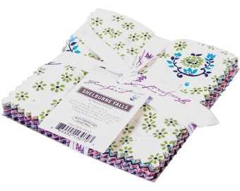 """Fabric Denyse Schmidt SHELBURNE FALLS 5"""" Charm Pack With 30 Squares Vintage Floral Flowers New England Quilter Free Spirit Quilting Sewing"""