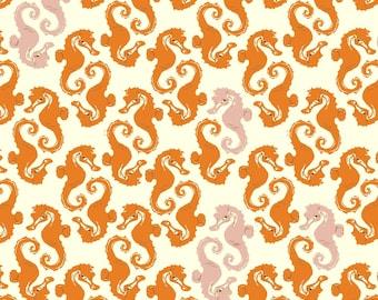 1FQ Original Printing MENDOCINO Seahorses HR07 Orange Designer Heather Ross Free Spirit Westminster Quilting Sewing OOP!