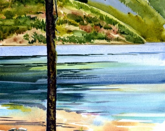 Green Point Camp on Ross Lake - Original Plein-air Watercolor - Archivally Matted and Mounted