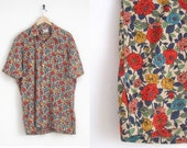 Vintage Liberty of London Shirt Floral Print Shirt | Button Down Shirt with Pointed Collar | Spring Floral Top | 70s Shirt | Mini Dress