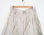 High Waisted Shorts. Vintage 90s Shorts. Grey and White Striped Shorts. Linen Shorts. Belted Vertical Stripe Shorts. Nautical Sailor Shorts.