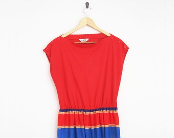 Vintage 1970s Dress. Vintage Sears Dress. Blue & Red Stripe Dress. Sleeveless Dress with Elastic Waist. Striped Skirt.