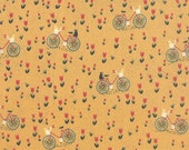 Mon Ami Bicyclette in Moutarde, Bicycle in Mustard, BasicGrey, 100% Cotton, Moda Fabrics, 30413 14