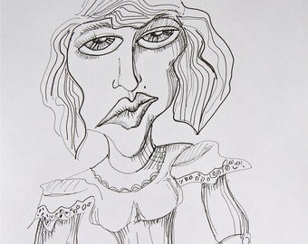 Chamber Maid-Original pen and ink drawing on paper-black and white-women-line drawing-modern-contemporary-whimsical-face-body-ladies-art-eye