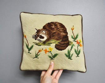 Vintage Raccoon Needlepoint Pillow