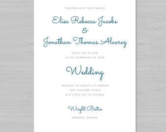 Simple, Clean, Modern Wedding Invitation [Digital File]