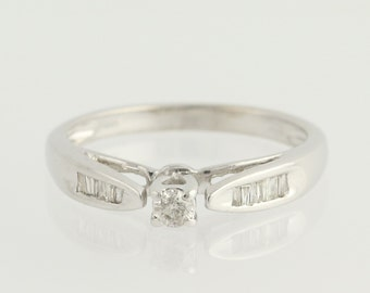 Diamond Engagement Ring - 10k White Gold Round Solitaire w/ Accents 0.20ctw Unique Engagement Ring N1160
