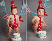 Boys First Birthday Outfit Cake Smash Diaper Cover Tie and Party Hat Outfit in Red and White Mickey Dots