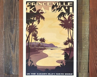 Princeville Kauai - 12x18 Retro Hawaii Travel Print