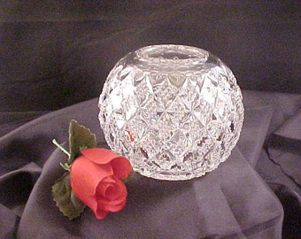 Antique Fostoria Sylvan Rose Bowl, Collectible EAPG Early American Pattern Glass, Diamond Design Old Clear Pressed Glassware, Pressed Glass