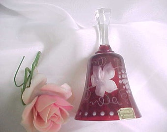 Vintage Egermann Czechoslovakia Glass Dinner Bell, Ruby Red Cut To Clear Bedside Bell With Original Sticker, Collectible Bohemian Crystal