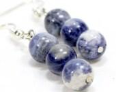 ON SALE Blue and White Sodalite Earrings. Three Bead Stone Earrings. Marbled Sodalite Jewelry. Dark Blue and White Beaded Earrings with Silv