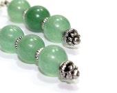 ON SALE Long Green Adventurine Earrings. Three Green Stone Beads with Fancy Pin. Medium Green Jade Like Earrings Silver Accent. Fake Jade Ea
