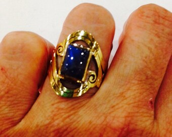 Vintage Blue Labradoite Brass ring