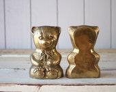 Vintage Brass Bear Bookends // Solid Brass