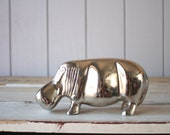 Vintage Large Silver Hippo // Solid Figure