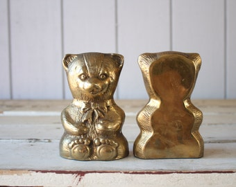 Vintage Brass Bear Bookends // Solid Brass