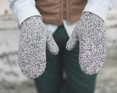 Blizzard Mittens - Recycled Wool & Silk Mittens - Black and White Marled - Recycled Yarn from Reclaimed Sweaters - Ready to Ship
