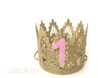 Ready to Ship|| First Birthday|| mini Sienna crown gold ||sparkly pink number lace crown headband|| customize ANY AGE