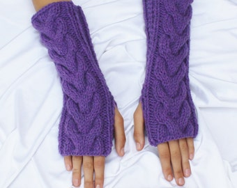 Fingerless Gloves - Purple Gloves - Ready to ship