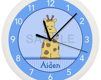 Blue Giraffe Nursery Wall Clock