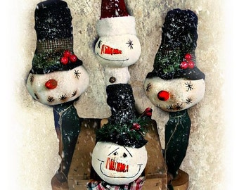Snowman Pattern | E Pattern | Primitive Snowman | Christmas Decor