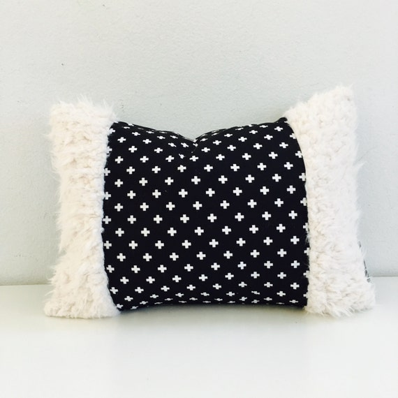 "Swiss Cross Black and White Pillow Cover 13""x18"" Lumbar Cushion Pillow Plus Sign Geometric Modern Motif Off White Faux Fur Pillow"