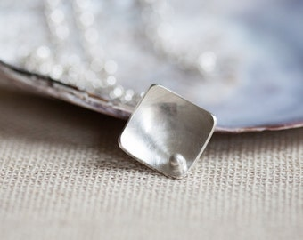 Squares and Pearls Silver Necklace - Geometric Square Pendant - Minimalist Brushed Silver Jewellery